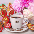 Coffee and butterfly shaped gingerbread cookies — Stock Photo #49307545