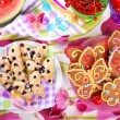 Butterfly shaped gingerbread and puff pastry cookies with bluebe — Stock Photo #49307743