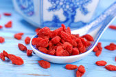 Dried goji berries on chinese spoon — Stock Photo