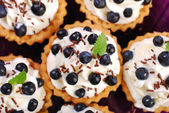 Blueberry tartlets with whipped cream — Stock Photo