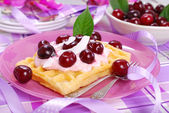 Waffles with yogurt with fresh cherries  — Stock Photo