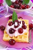 Waffles with yogurt with fresh cherries — Stock Photo