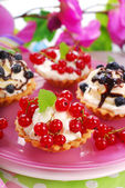 Mini tartlets with whipped cream — Stock Photo