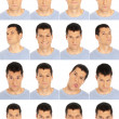 Adult man face expressions composite isolated on white background — Stok fotoğraf #8860683
