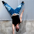 Young male dancer hip hop dancing urban scene — Stock Photo #9249063