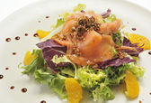 Salmon salad with lettuce and escarole with tangerine segments — Stock Photo