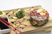 Oriental beef tartar — Stock Photo