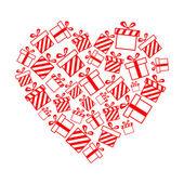 Vektorové dárkové krabičky ve tvaru srdce — Stock vektor