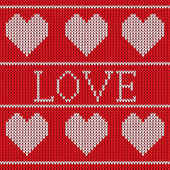 Red knitted sweater pattern — Vector de stock