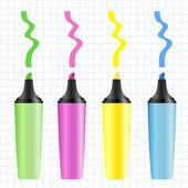 Conjunto de marcadores de colores realistas — Vector de stock