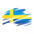 Flag Sweden in form traces brush — Vecteur #18481955