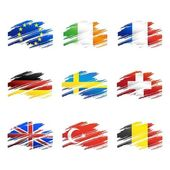 Flags in the form traces brush — Stock Vector