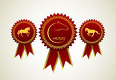 Horse symbol award rosette — Stock Vector