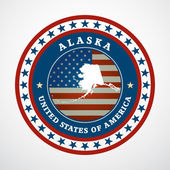 Label with map of Alaska, vector — Stock Vector