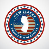 Label with map of New Jersey, vector — Stock Vector