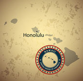 Hawaii map with stamp vintage — Stock Vector