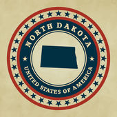 Vintage label with map of North Dakota, vector — Stock Vector