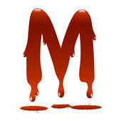 Letter M in the form of current liquid paint — Vecteur