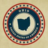 Wzór etykiety z mapą z ohio, wektor — Wektor stockowy