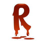 Letter R in the form of current liquid paint — Vecteur