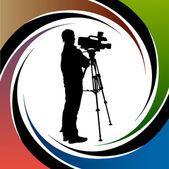 Cameraman at work silhouettes — Stock Vector