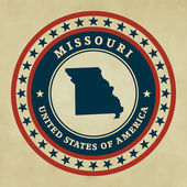 Vintage label with map of Missouri, vector — Stock Vector