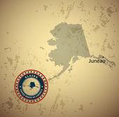 Alaska map with stamp vintage background — Stock Vector