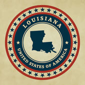 Vintage label with map of Louisiana, vector — Stock Vector