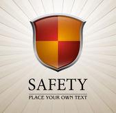 Scudo di protezione rosso e giallo — Vettoriale Stock