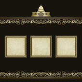 Vintage vector background in the form picture frame — Vecteur