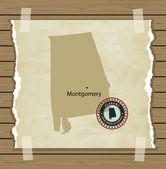 Alabama mapę z stempel — Vector de stock