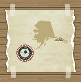 Alaska map with stamp vintage  background — Stock Vector