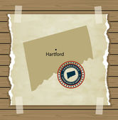 Connecticut map with stamp vintage background — Stock Vector