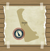 Delaware map with stamp vintage  background — Stock Vector