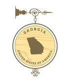 Vintage label with map of Georgia — Stock Vector