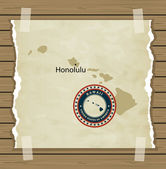 Hawaii map with stamp vintage background — Stock Vector