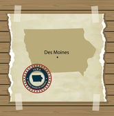 Iowa map with stamp vintage  background — Vecteur