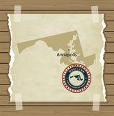 Mappa di Maryland con vintage timbro — Vettoriale Stock