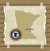 Minnesota map with stamp vintage — Stock Vector