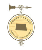 Vintage label with map of North Dakota — Stock Vector