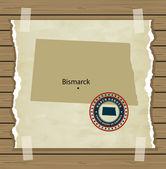 North Dakota map with stamp vintage — Stock Vector