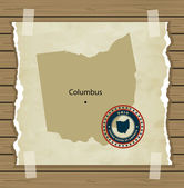 Ohio map with stamp vintage  background — Stock Vector