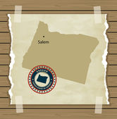 Oregon map with stamp vintage — Stock Vector