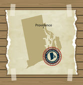 Rhode Island map with stamp vintage — Stock Vector