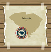 South Carolina map with stamp vintage — Stock Vector