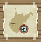 West Virginia map with stamp vintage background — Stock Vector