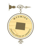 Vintage label with map of Wyoming — Stock Vector