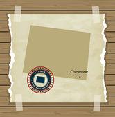 Carte de Wyoming avec fond vintage de timbre — Vecteur