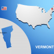 Vermont on USA map with map of the state — Stock Vector