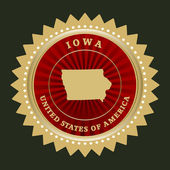 Star label with map of Iowa — Stock Vector